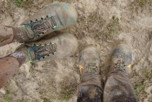 Our mud-coloured Wildhorses. These poor shoes will never be the same again.