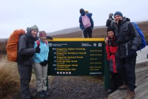 At the start on a cold, windy, misty morning, Johann, Nettie, myself and Gerry.