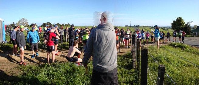 Race briefing in a friendly farmer's paddock.