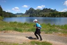Running next to Lake Whakamaru.
