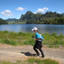 Running next to Lake Whakamaru.
