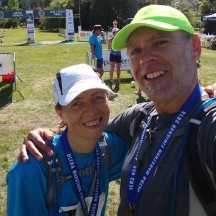 Gerry and I all smiles, happy to have survived The Taniwha.