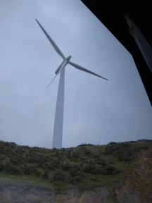 Mist and blustery wind at the Miridian Energy wind farm.
