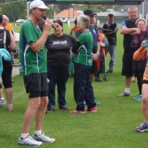 Club President, Kevin, welcoming participants back at the club house, with some of the organising team in the back.