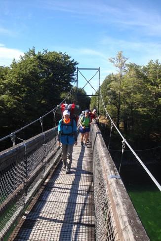 Crossing the Waiau River at the start at Rainbow Reach.