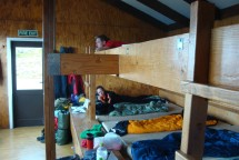 Relaxing in the hut.