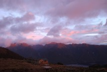 Lost of sleepy heads in the hut while the sun started to light up the tops of the mountains.