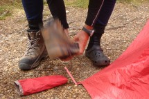 What to do when there's no stones to secure tent pegs?