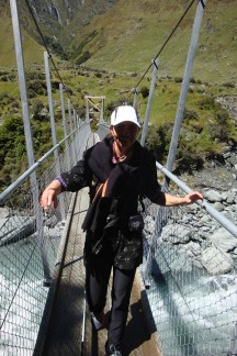 Crossing the swing bridge over the Matukituki River.