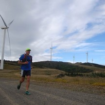 The majestic wind turbines form a scenic backdrop for the run.