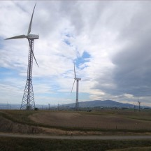 The windfarm features a range of different turbine types.