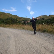 Flying down one of the downhills of Hall Block Road.