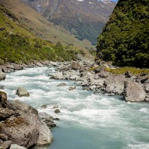 Love the typical turquoise colour of many of New Zealand's rivers. The Matukituki River, with the swing bridge in the distance. (© Gerry le Roux)
