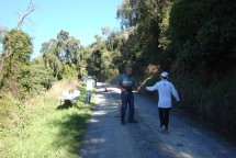 At the end of the out-and-back stretch is a water station with friendly volunteers.