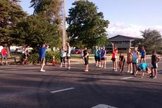 The handful of runners at the start of the 5km fun run.