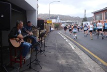 "A band entertaining runners. We were treated to ""Like a Rolling Stone"" as we passed."