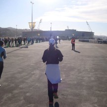 """Finally Westpac Stadium, after the only """"uphill"""" stretch, but then still a lap of despair to get the the finish."""
