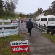 Reaching the halfway mark just outside Taupo.