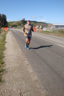 Gerry digging deep to keep up the pace over the final couple of kilometres.