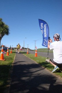 Kevin snapping his team-mate Peter at the finish line.