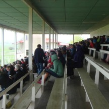 Prize-giving took place on the grand stand, out of the rain.