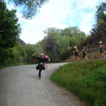 Flying round the corner on a downhill. Yeah right.