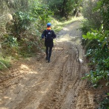 The rain of the preceding few days made for some very slippery downhills.