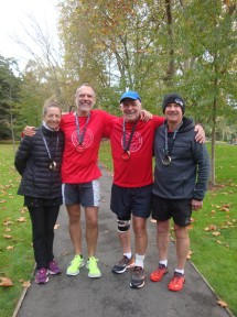 The 5 marathons team still smiling after our fourth event: me, Gerry, Graeme and Rob. [Photo by Rachael]