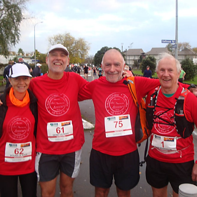 The Team: me, Gerry, Graeme and Rob at the start of our fifth marathon.