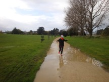 """Jumping"" puddles. Uhum, or whatever you call trying to sidestep puddles after 34km."