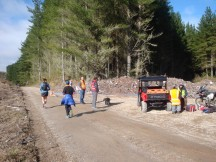 The start of the out-and-back stretch up a shingle/gravel road.