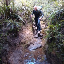 The eroded path resulted in some muddy patches.
