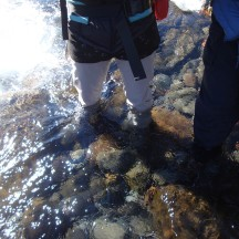 A final cold, wet stream crossing before calling it a day.