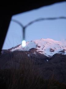 The beautiful Mt Ruapehu glowing pink in the evening light.