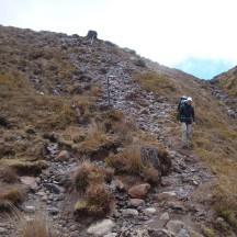 Scrambling down a rocky slope.