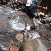 Intense concentration to avoid slipping into the icy water.