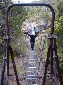 This swing bridge with the wire bottom was particularly nerve-wracking.