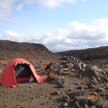 Our third overnight spot, next to a small mountain stream on another perfect evening.