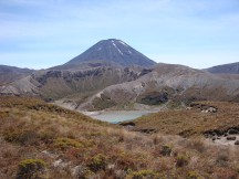 Lower Tama lake, with Mt Ngauruhoe in the background.