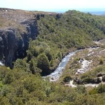 Looking down towards the Taranaki Falls.