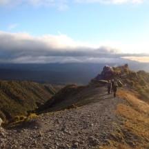 Walking up the Razorback Ridge.