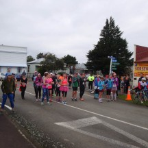After the cyclists were gone, the small field of slow runners and fast walkers lined up at the start.