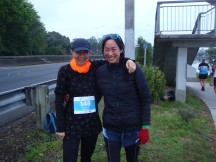 Having a laugh with Anita, with 40km to go!.