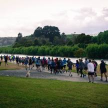 And off we go on the out-and-back course next to the river. (Photo: Richard Berber/parkrun)