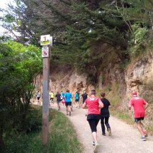 One kilometre down, and still slowly going uphill.