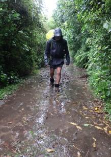 Already soaking wet within the first kilometre.