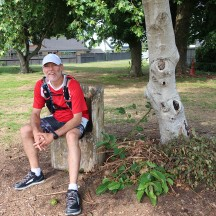 Finally back in a park, testing a log chair which was not yet needed at that point.