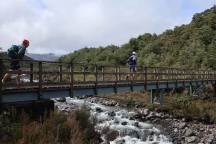 Most of the early stream crossings (e.g. on the Silica Rapids loop) have bridges, but later in the day you have to go through the river.