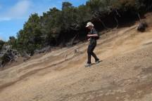 Steep, sandy downhill.
