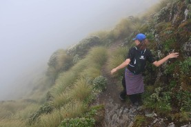 Sidling around the ridge.